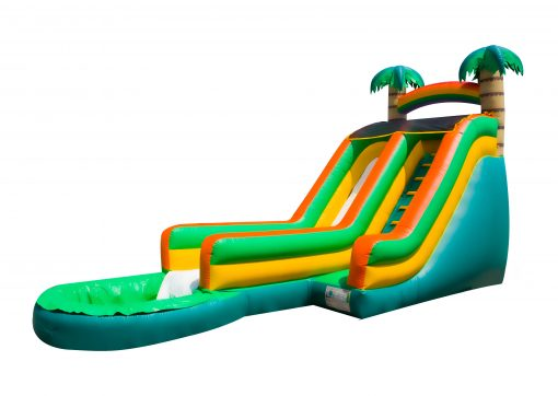 17' Tropical Wave Slip and Slide Rental,  Inflatable Slide, Single Lane, Water Fun, Waterslide