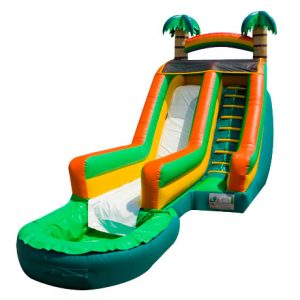 17' Tropical Wave Rental Bouncer Waterslide,  Inflatable Slide, Single Lane, Water Fun, Waterslide