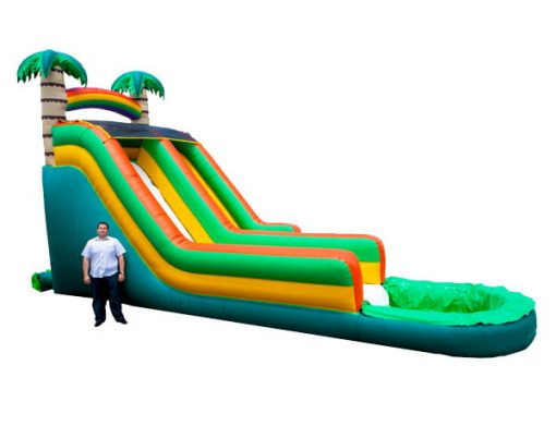 17' Tropical Wave Water Bouncer,  Inflatable Slide, Single Lane, Water Fun, Waterslide