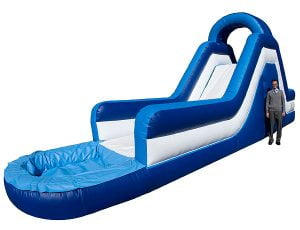 14' Blue Rush water slide bouncehouse rental for July 4th Parties,  Inflatable Slide, Kids, Single Lane, Water Fun, Waterslide