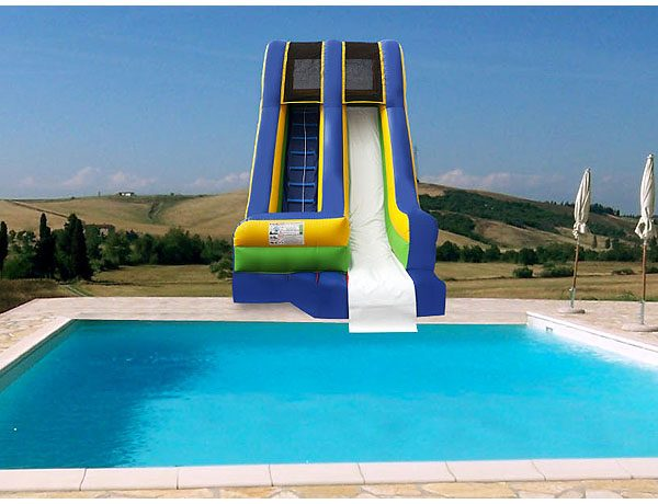 Poolside Waterslide for kids pool party ideas, backyard pool feature,  Inflatable Slide, Single Lane, Waterslide