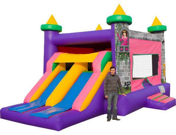 Dual Princess pink castle bounce and slide rental Charlotte NC,  Bouncehouse, Castle, Princess