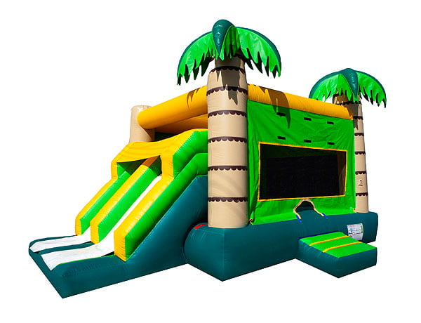 Dual Tropical Combo slide beach theme bounce house rentals Greensboro NC,  Beach, Bouncehouse, Hawaiian, Luau, Spongebob, Tropical