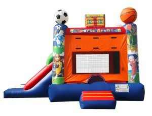 Sports theme inflatable bounce house Greensboro with slide for kids party ideas