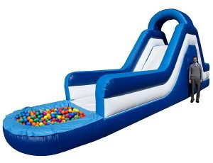 14' Blue Climb & Slide with Ball Pit Asheboro, Greensboro, NC,  Inflatable Slide, Kids, Single Lane
