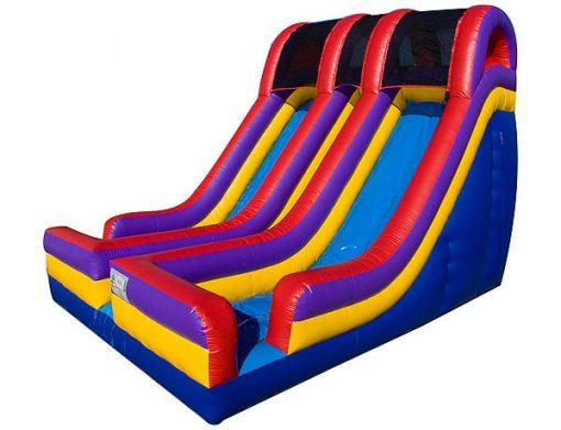 18' Festival Double Lane Bounce Slide,  Dual Lane, Inflatable Slide, One-on-One