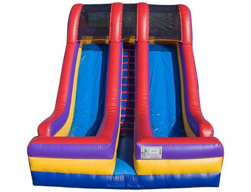 18' Festival Double Lane Bounce Slide,  Dual Lane, Inflatable Slide, One-on-One