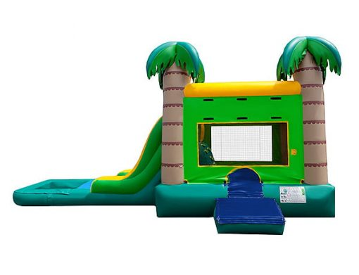 Palm Trees and Sand theme bouncer,  Bouncehouse, Combo, Single Lane, Water Fun, Waterslide