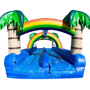 Tropical Oasis Dual Slip-N-Slide Greensboro, High Point, Archdale slip-n-slide rental,  Dual Lane, Inflatable Slide, One-on-One, Water Fun, Waterslide