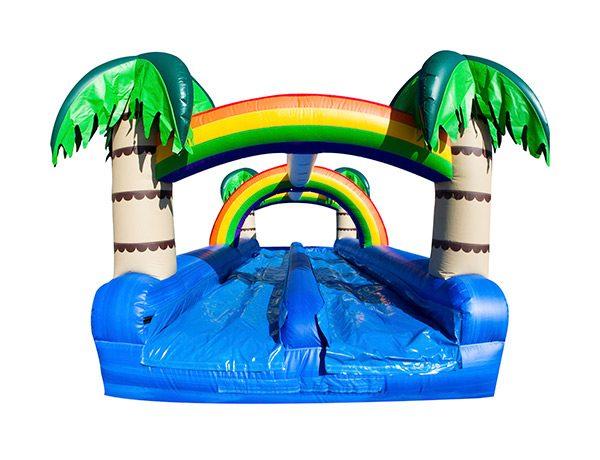Tropical Oasis Dual Slip-N-Slide Greensboro, High Point, Archdale slip-n-slide rental,  Dual Lane, Inflatable Slide, One-on-One, Water Fun, Waterslide