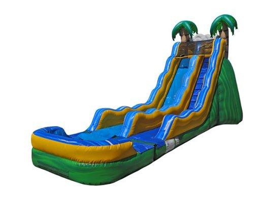 17' Tropical Wave Rental Bouncer Waterslide,  Inflatable Slide, Single Lane, Water Fun, Waterslide